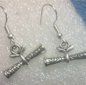 Silver plated diploma earrings